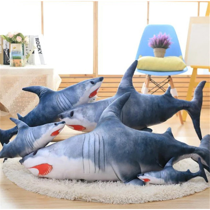 Fancytrader Pop Realistic Giant Anime Shark Plush Toys 120cm Grey Animals  Sharks Pillow Decoration Gifts(