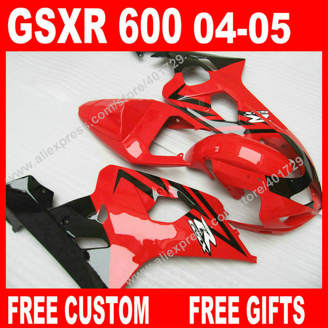 Hot sale Fairings for glossy red black 2004 2005 bodywork SUZUKI GSXR 600  750 gsxr600 parts 04 05 fairing kits 7 gift KF04-in Covers & Ornamental