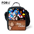 FORUDESIGNS Children Lunch Box Cartoon Christmas   Kids Lunch Bags Thermal School Trendy Mens Shoulder Thermos Lunchbox Food Bag