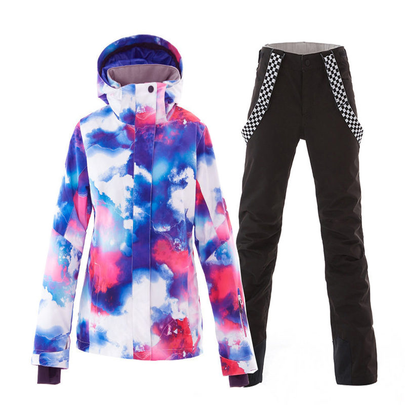 SMN New Women Snow Clothing Snowboarding Suit Sets 10K Waterproof Windproof Winter Outdoor Wear Ski Jacket And Strap Snow Pant