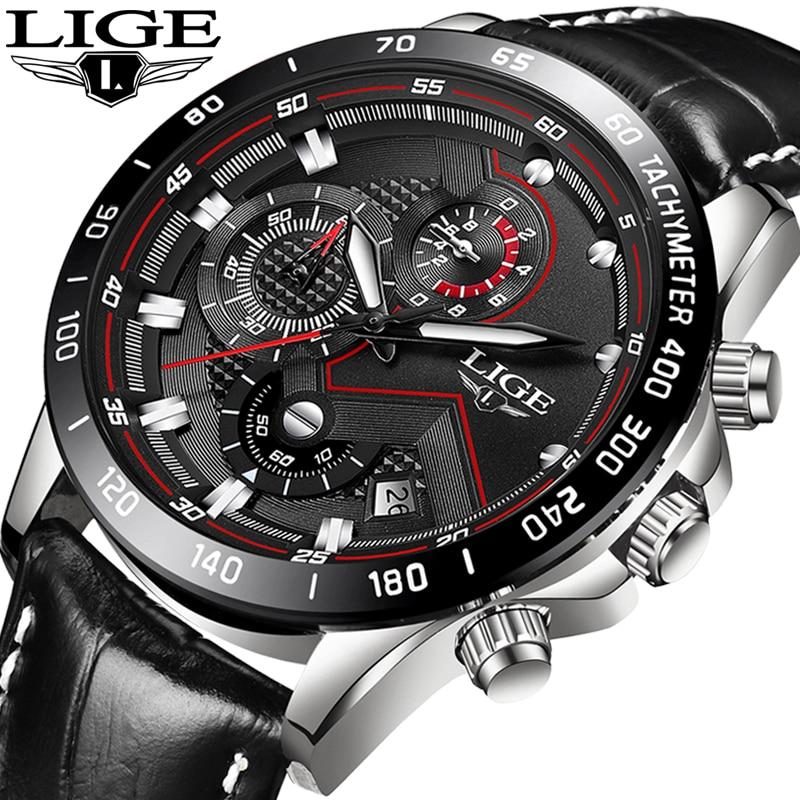 Relogio LIGE montres homme Top Marque De Luxe décontracté montre à quartz Hommes Mode acier inoxydable Étanche chronographe de sport + Boîte