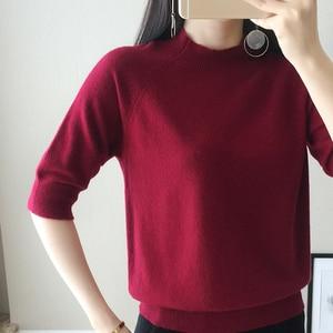 Image 2 - 2018 חדש סגנון נשים של סרוג קשמיר חצי שרוול סוודר חצי גבוהה צווארון Slim סגנון מוצק צמר צבע סוודר משלוח חינם