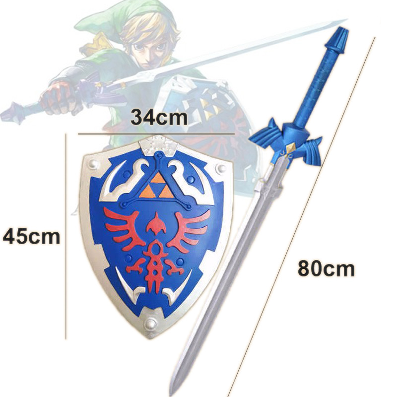 The Legend of Zelda Link Figures Cosplay Weapons Skyward Swords 80cm and Shield  45cm Model Toys Gift for Kids Free Shipping