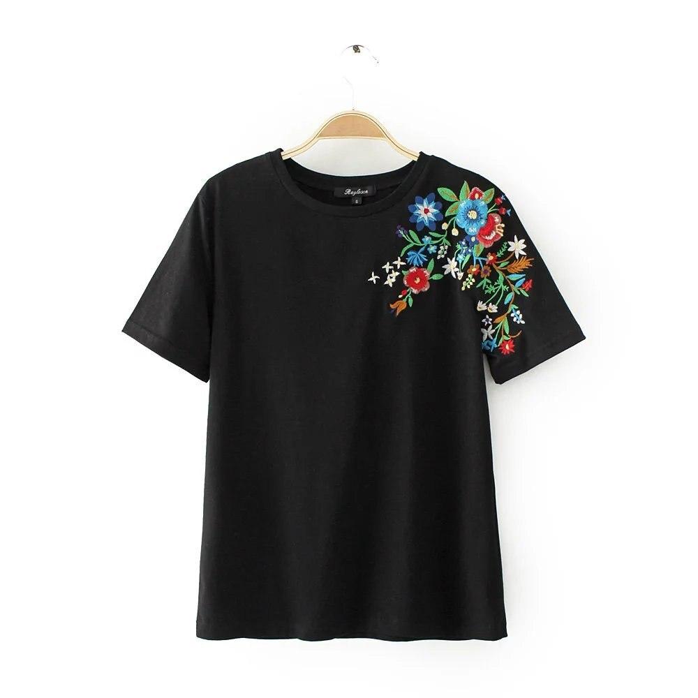 HTB1Vi7.QXXXXXbYXVXXq6xXFXXXw - Women Cotton Slim Floral Tshirts Casual Street Daily