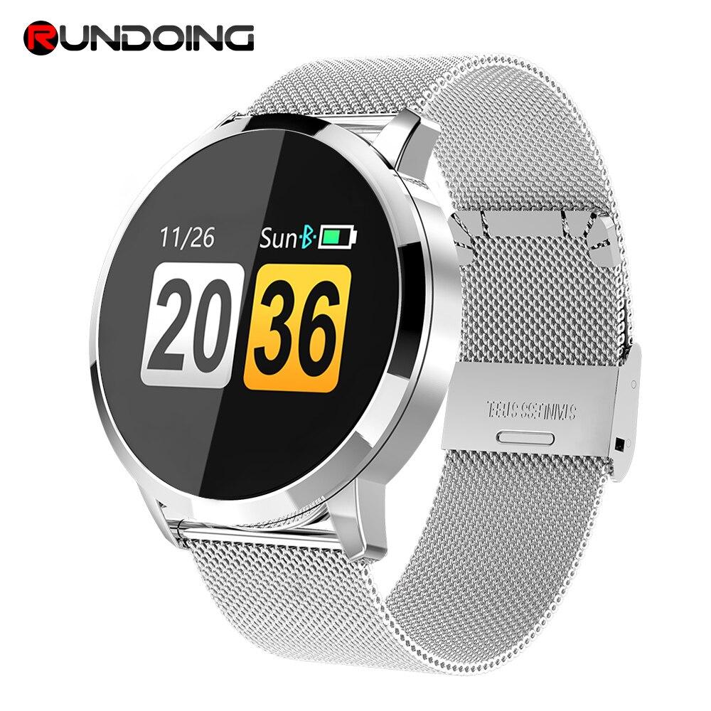 Rundoing q8 relógio inteligente tela colorida oled smartwatch moda feminina rastreador de fitness monitor de freqüência cardíaca