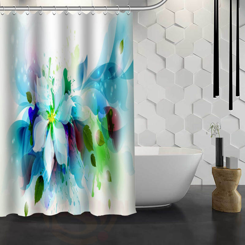 vixm hot sale custom beautiful flowers custom shower curtain waterproof fabric bath curtain for