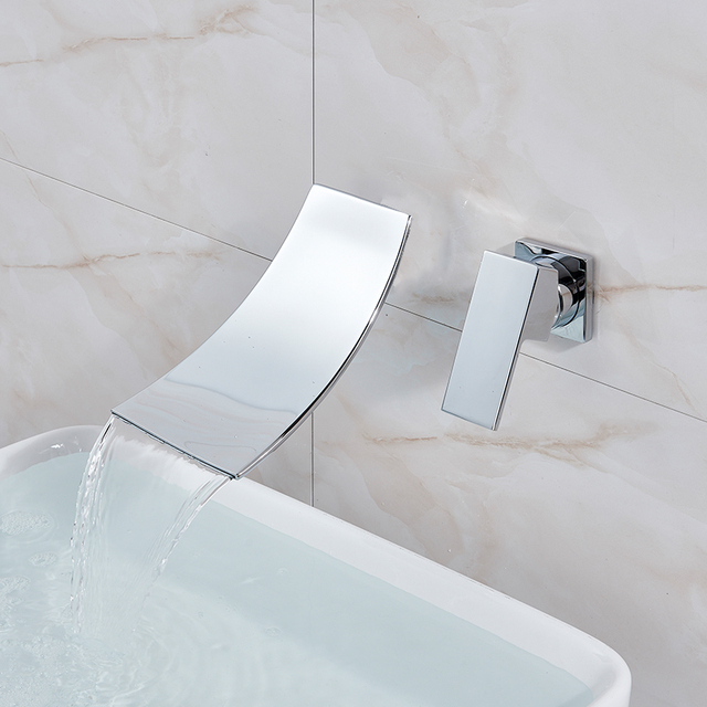 Quyanre Black Chrome Waterfall Basin Faucets Wall Mount Waterfall Faucet Single Handle Mixer Tap Bathroom Waterfall Basin Faucet