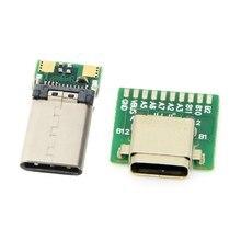 1 компл. СДЕЛАЙ САМ 24-контактный USB 3.1 Тип C вилка Тип-C женский разъем SMT тип с настольными ПК