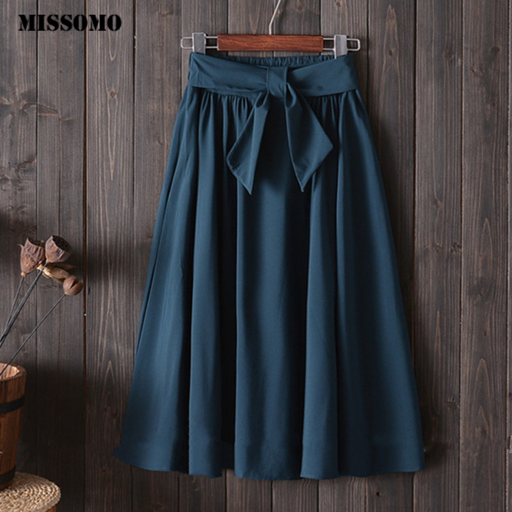 MISSOMO Summer Skirts Womens With Belt A-line Spring  Bandage Casual Student Summer Loose Skirt Faldas Mujer Moda 2019 617