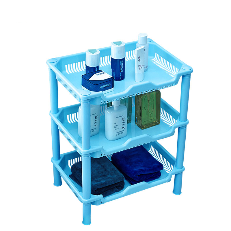 1PCS Square Shaped Plastic Bathroom Storage Shelves Holders Three Layer Organization Floor Type