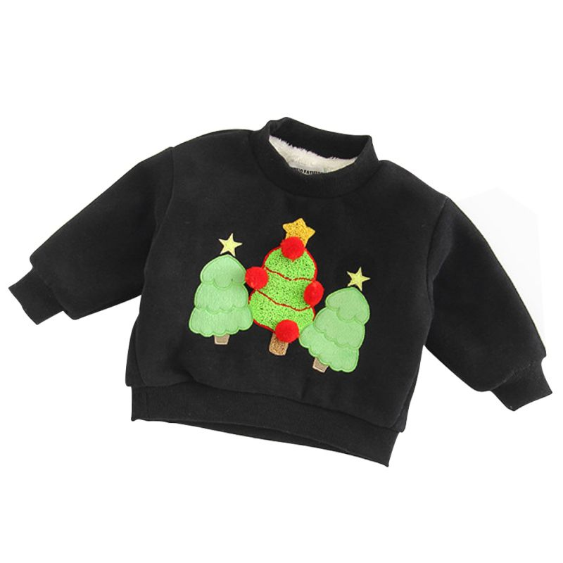 Children Boys Girls Autumn Winter Hoodies Sweatshirts Cute Christmas Holiday Cashmere Long Sleeve Baby Clothes Outwear