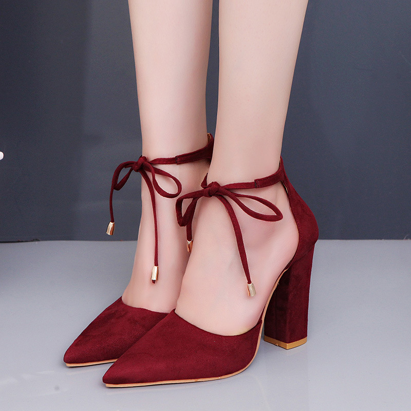 2019 Ladies Shoes High Heels Sandals Zapatos De Mujer Solid Color Flock Pointed Toe Shallow Single Shoes Square Heel EUR35 43 in High Heels from Shoes