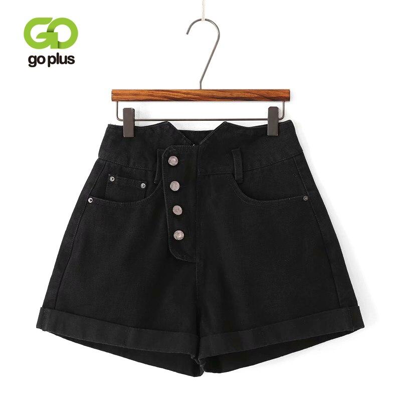 Goplus Summer Denim Shorts Womens Black High Waist Vintage Buttons Crimping Shorts Women Loose Leg Korean Booty Shorts C7957