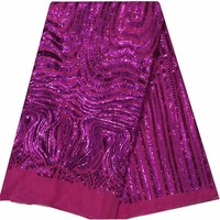 Very Popular Fushia Pink Party Evening Dress Fabric African Lace Fabric High Quality French Sequins Lace