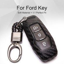 Carbon Fiber Remote Car Key Case Protective Key Skin Shell Cover For Ford Edge Mondeo Mustang Everest Ranger Fusion keychain free shipping new cool black carbon fiber car key cover for porsche all cara spolier auto remote key case key shell