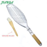 JIANDA (send gift)New Stainless Steel Non-stick Mesh Wood Handle Grilled Fish Barbecue Clip Net Outdoor Burgers BBQ Tools Grills