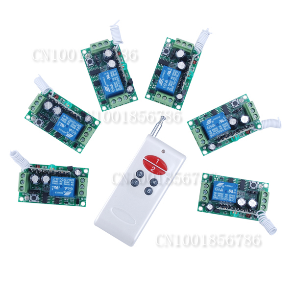 Free shipping 12V 1ch rf Wireless Remote Control light/door Switch System Learning code home automation 6pcs receivers 12v 1ch rf wireless remote control switch system 12 receivers