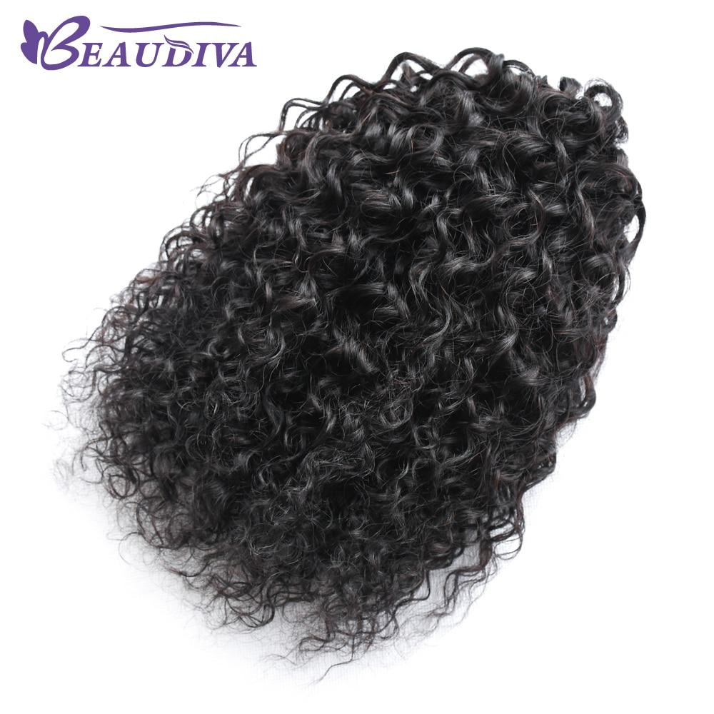 Beaudiva malaisie Afro bouclés perruque queue de cheval cordon court Afro crépus queue de poney Clip sur cheveux bouclés humains chignon fait - 2
