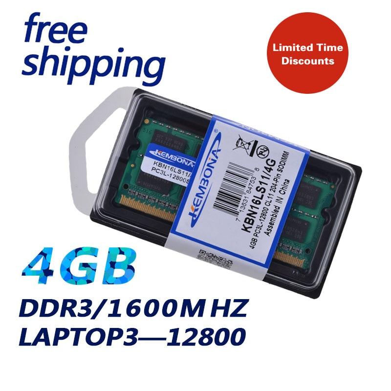 KEMBONA Garantia de Vida! 1.35 V DDR3 PC3-12800 DDR3L 1600 MHz 4 GB Módulo de Memória SO-DIMM Ram Memoria para Computador Portátil