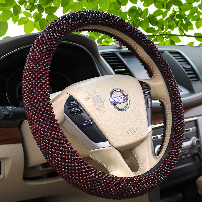ФОТО Wooden ball steering wheel set of the four seasons general high-grade wooden car set antiskid breathable pure manual weaving car