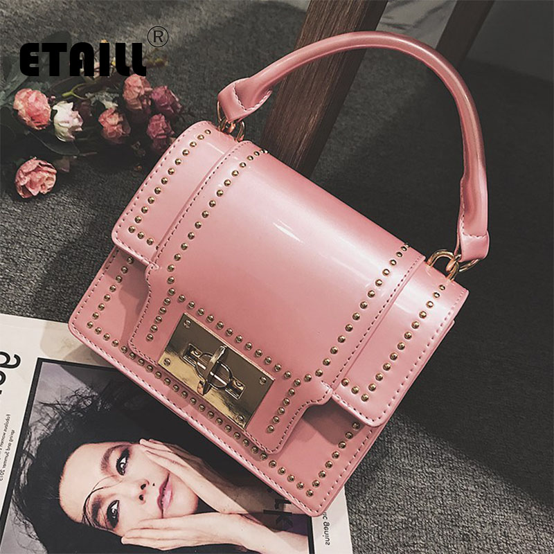 ETAILL Rivets Top Handle Women Messenger Bag 2018 Patent PU Leather Chain Small Bags Ladies Small Flap Shoulder Crossbody Bags аксессуар чехол orico phi 35 pu purple