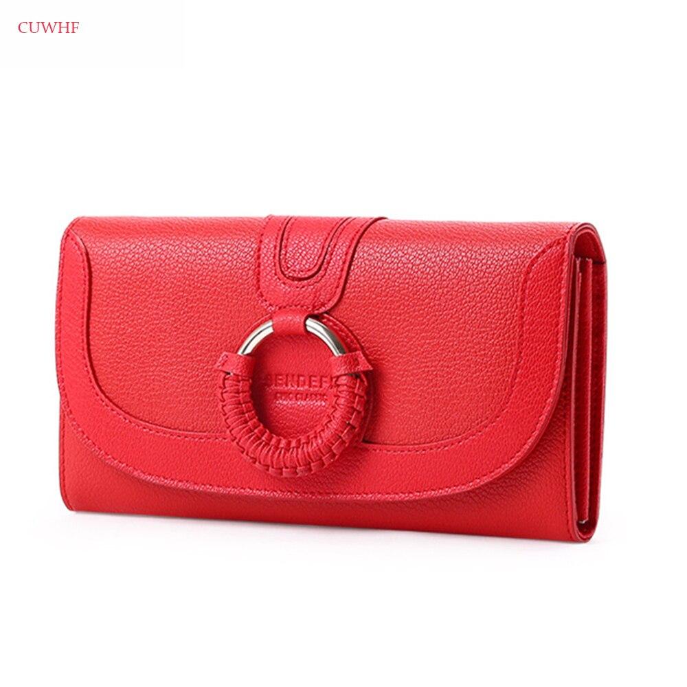CUWHF New ring weaving Women wallet female Genuine Leather Female Purse Long Women purse female original leather purse female