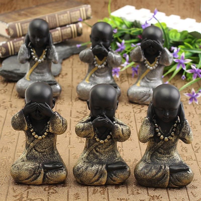Kiwarm Hot Sale 14cm Small Buddha Monk Statues Ceramic Figurine Sculpture Decorative Ceramic Ornaments Crafts Home