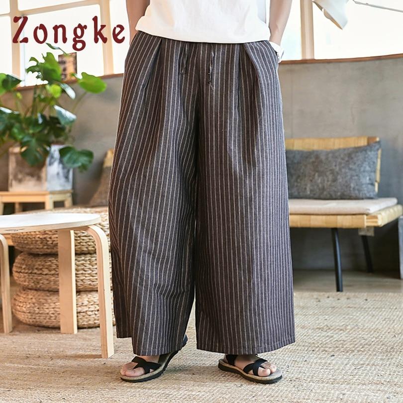 Zongke Chinese Style Loose Striped Linen Pants Men Jogger Streetwear Wide Leg Pants Men Trousers Hip Hop Joggers Men Pants 2019