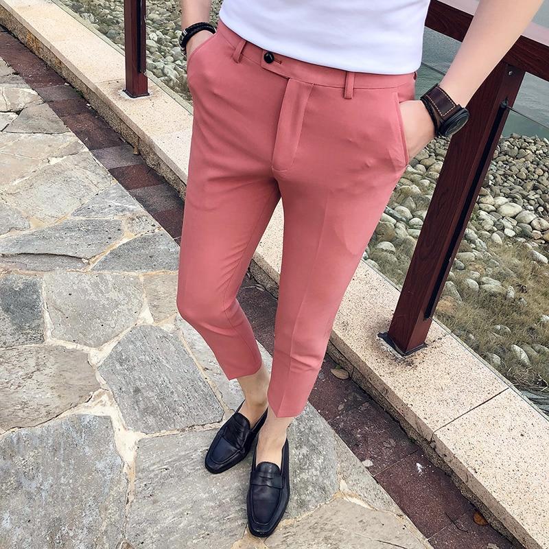 2019 Spring Summer New Men Suit Pants Fashion Boutique Solid Color Men's Social Trousers Pantalon Men's Slim Dress Trousers Mens