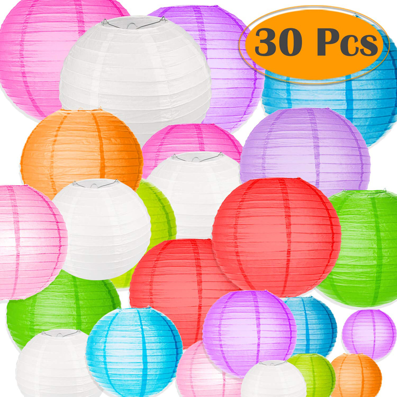 30 Pcs/set Chinese Paper Lantern Assorted Sizes And Colorful Round Lampion De Mariage Wedding Party Hanging Lampion Decor Favor