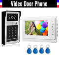 7 Inch LCD Wired Video Door Phone Doorbell Intercom Kits Aluminum Alloy Case IR Camera Password ID Keyfobs Unlocking