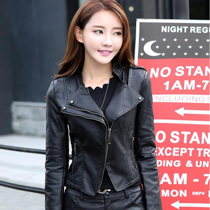 HOT new women's coat spring and autumn leisure motorcycle jacket fashion Slim   leather   jacket clothes Overcoat
