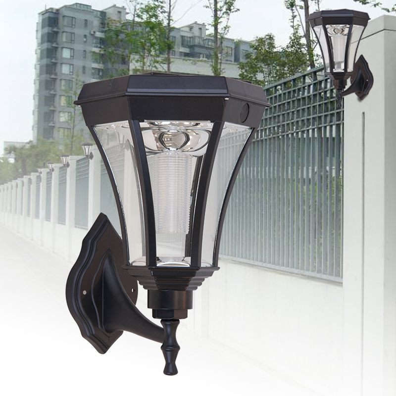 hexagonal outdoor led solar garden wall light waterproof porch lamp