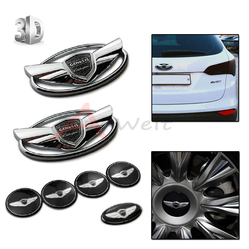 7pcs 3D Carbon Fiber Silver Badge Emblems Kit With Double-side Tape car-styling car sticker For 2010-2015 Hyundai GENESIS COUPE
