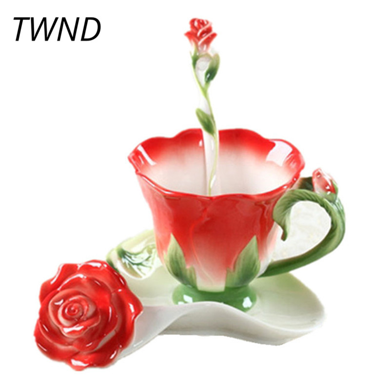 150ML Emalje Rose Kaffekopper Te Cups og Krus Med Saucer Spoon Creative Lover Gave Drinkware