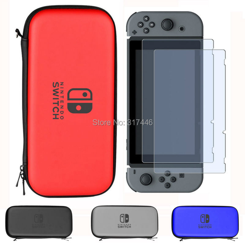 Carry Case for Nintend Switch Travel Carry Bag Shell Pouch with 2PCS HD Tempered Glass Screen Protector for Nintendo Switch eva protective hard case shell travel carrying game console storage bag holder pouch for nintend switch console with hand strap