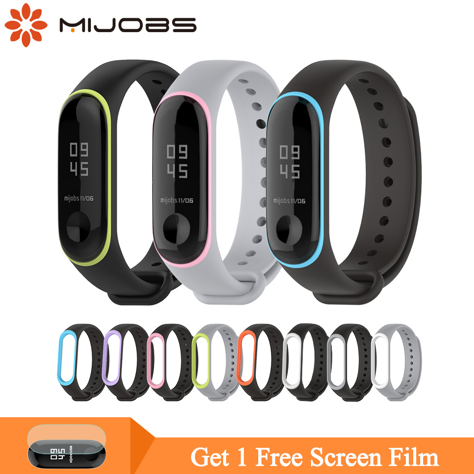 Mijobs Mi Band 4 Wrist Strap For Xiaomi Mi Band 4/3 Sport Silicone Bracelet Miband 3 Strap Colorful Wristband Mi Band 3 Strap