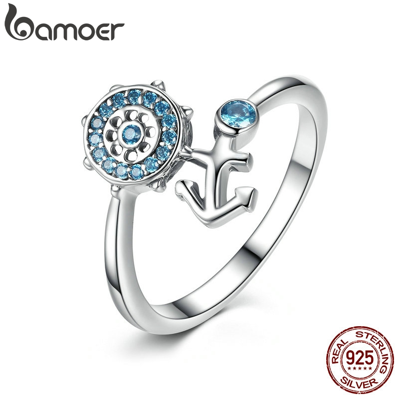 BAMOER Popular 100% 925 Sterling Silver Blue Crystal Anchor Finger Ring for Women Fashion Jewelry 14mm*10mm SCR005 mariposa en plata anillo