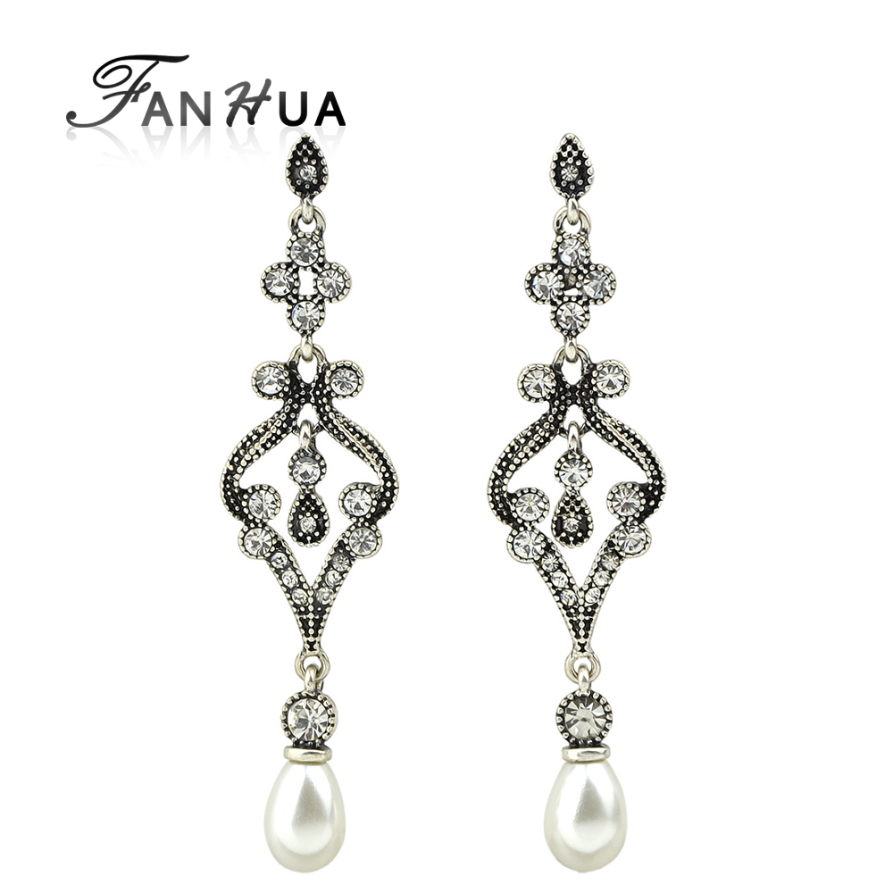 Vintage Accessories Ethnic Style Antique Silver Color Dangle Earrings  Rhinestone And Simulated Pearl Chandelier Earrings(
