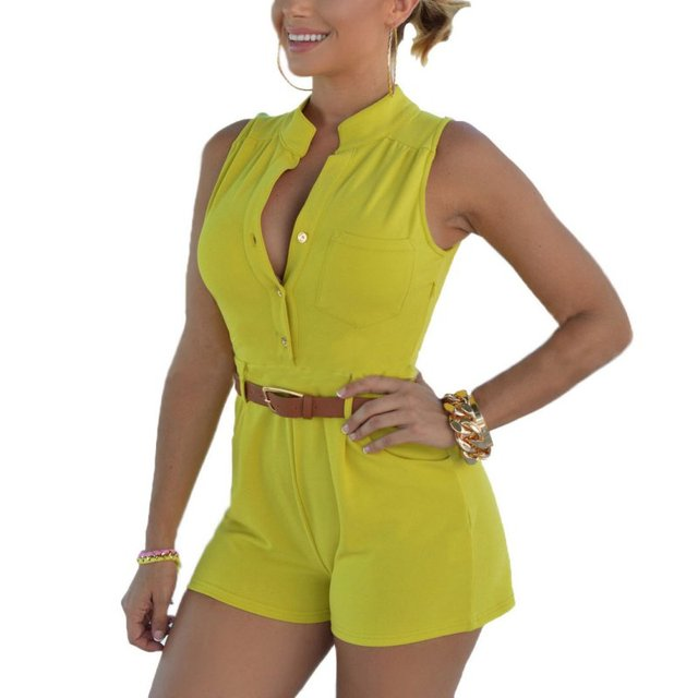 Summer Style Sexy Women Deep V-neck Bodycon Rompers Jumpsuit Shorts Sleeveless Pocket Bodysuit With Belt
