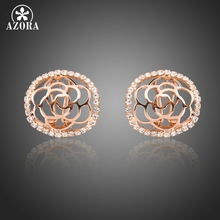 AZORA Rose Gold Color Round Hollow Flower Carving Arc Face Stellux Austrian Crystal Clip-on Stud Earrings TE0283(China)