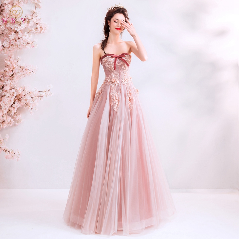Walk Beside You   Prom     Dresses   2019 Wholesale Cheap Pink Lace Tulle Illusion long elegant Vestido Gala Evening Gowns Beading Bow