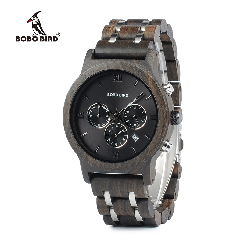 BOBO BIRD Chronograph Men Watch relogio masculino Calendar Quartz Watches Wood Luxury Timepieces in Wooden Gift Box bobo bird watch men wooden metal quartz watches special design men s wristwatches in wooden box timepieces relogio masculino