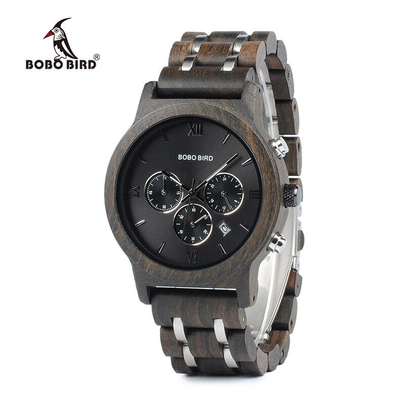 BOBO OISEAU Bois Mens De Luxe Montres Horloge Fonctionnelle Chronomètre Hommes saat avec Affichage de la Date relogio masculino Montres C-P19