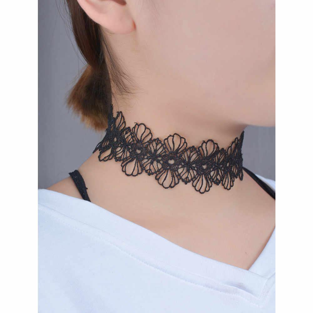 Sexy ahueca hacia fuera la flor negro encaje gargantilla collares mujeres moda Punk gótico gargantilla hecho a mano cuello gótico bohemio joyería