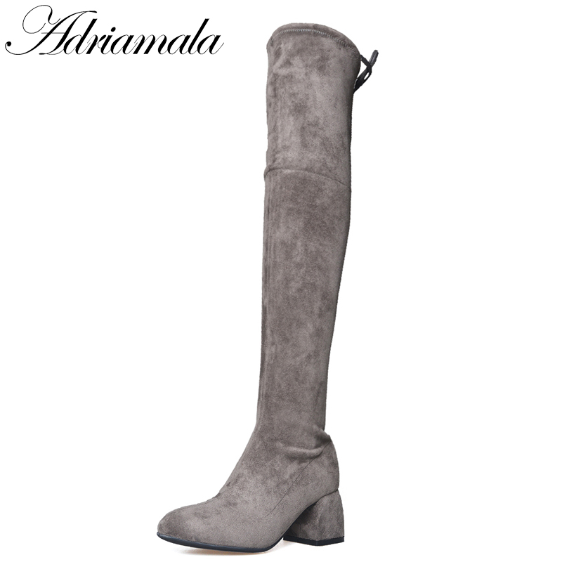 Spring Autumn Woman High Heel Leather Over The Knee Boots British Elastic Square Toe Fashion Thick Heels Long Boots Adriamala 2016 autumn winter hot selling royal blue suede over the knee high heel boots round toe thick heels high boots for woman
