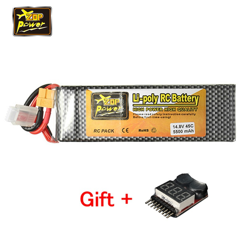 ZOP Power 14.8V 5500mAh 4S 45C Rechargeable Lipo Battery XT60 Plug Connector With One Remote Battery Monitor Testor Indicator zop power 7 4v 8000mah 2s 40c lipo battery rechargeable for trx plug connector battery alarm indicator traxxas rc multicopter