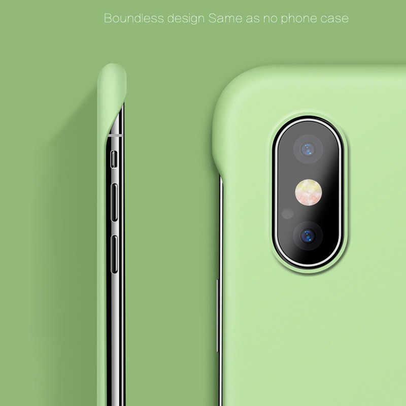 Lovebay Slim Scrub Hard Pc Tanpa Bingkai Ponsel Case untuk iPhone 11 6 6S 7 7 Plus XR X X 11 pro Max Solid Matte Penutup Belakang Tanpa Batas