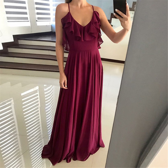 Purple Chiffon Long Evening Dress Backless Spaghetti Strap A Line Floor Length Simple Wedding Party Gowns Cheap