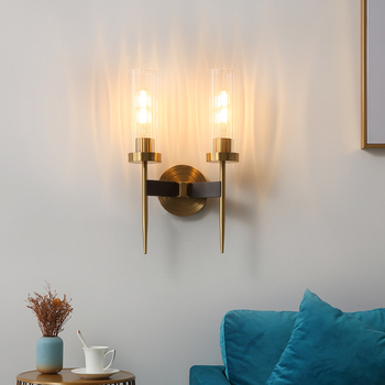 American Copper Wall Lamps Living Room Wall Sconce Bedroom Bedside Lamp Modern led Wall Light Bathroom Light Simple Stairs Light 1